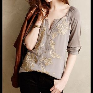 Anthropologie TINY Lore Embroidered Henley Large